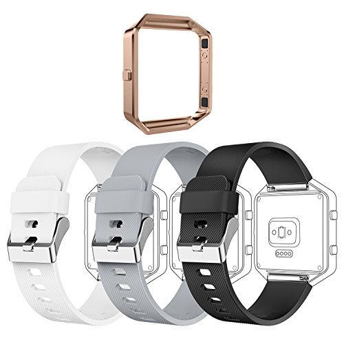 Greeninsync Compatible with Fit Bit Blaze Bands Frame, Replacement for Fit Bit Blaze Accessory Band Buckle Adjustable Wristband Small Bracelet Strap for Blaze Smart Watch, 3pack+1pack Rose Gold - Stainless Steel Bracelet Textured