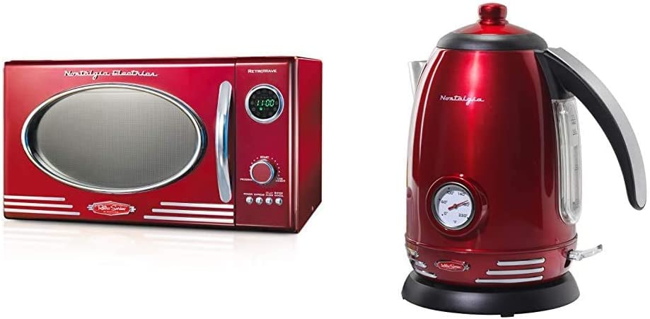 Nostalgia RMO4RR Retro Large 0.9 cu ft, 800-Watt Countertop Microwave Oven, Metallic Red & RWK150 Retro Stainless Steel Electric Water Kettle, Holds 1.7 Liters, Auto-Shut Off & Boil-Dry Protection