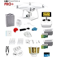 DJI Phantom 4 PRO Plus Quadcopter Drone with 1-inch 20MP 4K Camera KIT with Built In monitor + SanDisk 64/32GB Micro SDXC Cards + Reader 3.0 + Guards + Harness + Range Extender + Charging hub