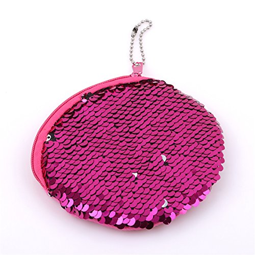 (Rurah Portable Mermaid Sequin Coin Purse Mini Glitter Wallet Shiny Clutch Pouch Zip with Key Chain Wallet,rose Red)