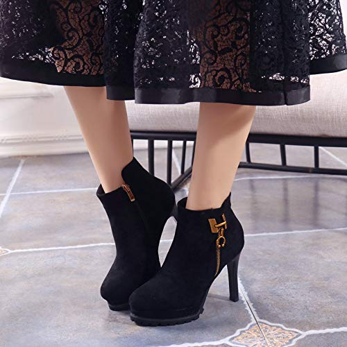 Olici Damen Stiefel, elegant, für Arbeit und und und Freizeit, Samt, seitlicher Reißverschluss mit hoher 10 cm, Wasserdichte Plateau-Winterstiefel mit feinem Absatz 6143cb