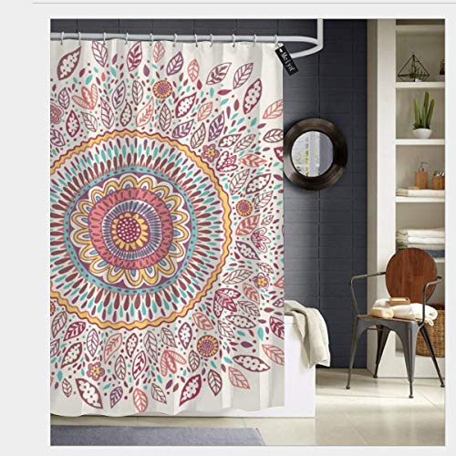 Puloa Sunflower Medallion Shower Curtains with 12 Hooks,Durable Mildew Bathroom Curtain 72