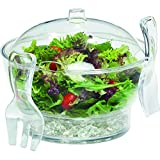 Jumbl Serving Bowl w/Vented Ice Chamber Base & Hook-On Serving Fork & Spoon