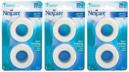 Nexcare Gentle Paper Carded First Aid Tape 1 in x 10 yds (6 rolls) (Gentle Tear)