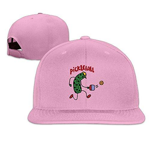 Basee Funny Pickle Playing Pickleball Cartoon Adjustable Flat Along Baseball Cap Pink