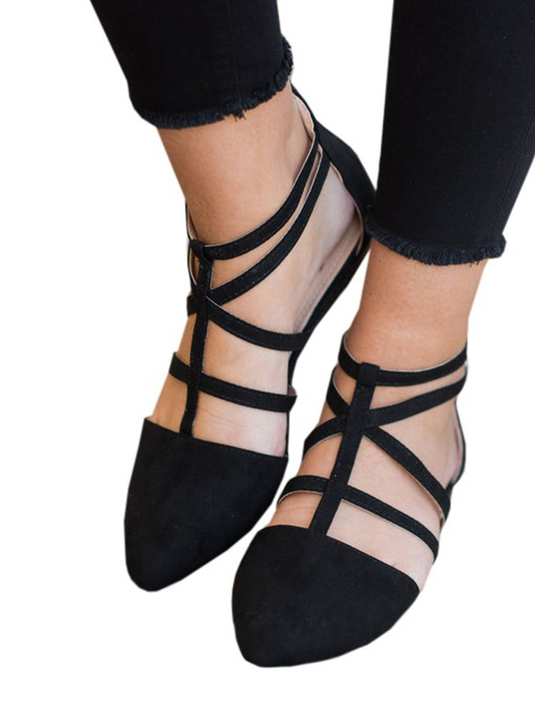 Doubleal Women Black Flats Ballet Pointed Toe Shoes Comfort Vegan Lace up (8 B(M) US, Black)