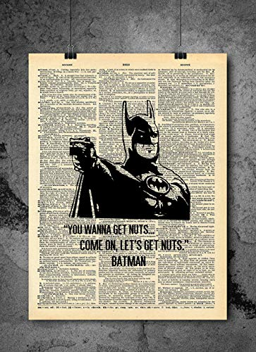 Batman Art - Do You Wanna Get Nuts Quote- Vintage Dictionary Print 8x10 inch Home Vintage Art Abstract Prints Wall Art for Home Decor Wall Decorations Ready-to-Frame ()