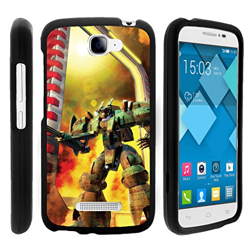 (TurtleArmor | Alcatel One Touch Fierce 2 Case | POP Icon Case [Slim Duo] Hard Shell Snap On Case Fitted Compact Matte on Black Robot Android Design - Gigantic)
