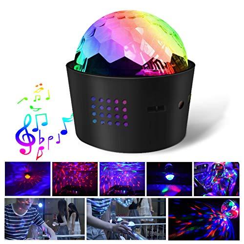 fflowo Portable Sound Activated Party Lights, Strobe Lamp Stage LED Light, RBG Disco Ball Light, USB Charging Mini Christmas Atmosphere Light for Car Room Dance Parties Birthday DJ Bar Club (Black)