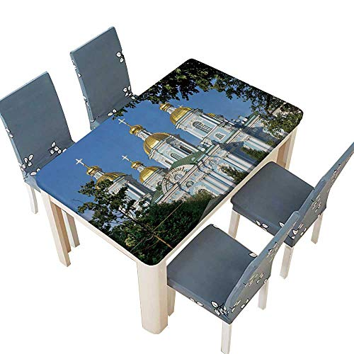 PINAFORE Polyester Tablecloth Table Cover St Nicholas Naval Cathedral,Baroque Orthodox Cathedral,Saint Petersburg,Russia Wedding Restaurant Party Decoration W65 x L104 INCH (Elastic Edge) ()