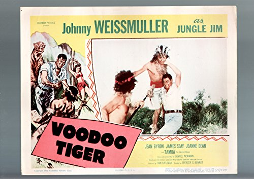(MOVIE POSTER: VOODOO TIGER-LOBBY CARD-1952-JOHNNY WEISSMULLER FN/VF)