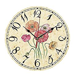 ChezMax 12 Vintage European Creative Frameless Wooden Electronic Wall Clock of Country French Style DIY Assembling Clock Corn Poppy