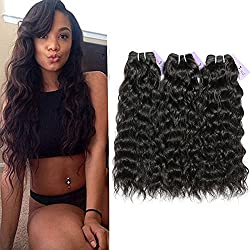 ShowCoco 10A Indian Natural Wave Hair 3 Bundles Virgin Indian Remy Human Hair Weave Raw Indian Virgin Hair Extensions(Natural Color 8 10 12 Inch)