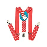 Child Kids Doctor Seuss Suspenders - Adjustable Length 1 Inches Suspender with Bow Tie Set for Boys and Girls by CanXos