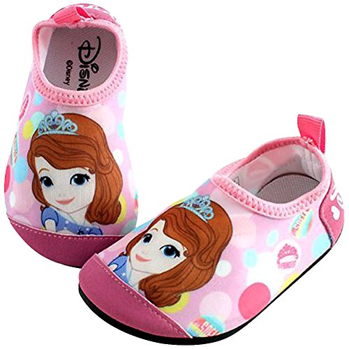 Joah Store Sofia The First Pink Water Shoes Barefoot Aqua Socks Shoes for Toddler Little Kid Runs Small (13 M US Little Kid, Sofia_B) ()