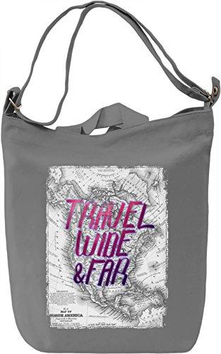 Travel Wide & Far Borsa Giornaliera Canvas Canvas Day Bag| 100% Premium Cotton Canvas| DTG Printing|