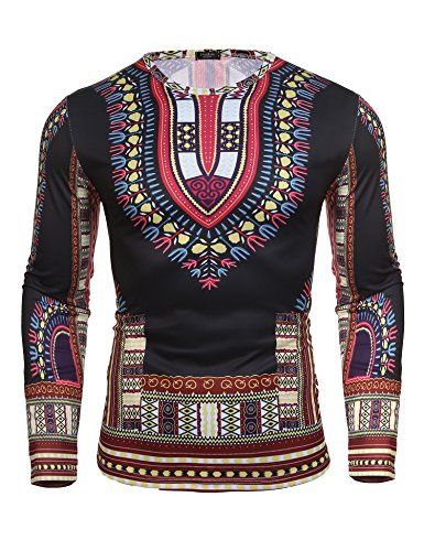 Modfine Men's Unisex Long Sleeve African Printed Casual Slim Fit Dashiki T Shirts Tops(Red,Medium)