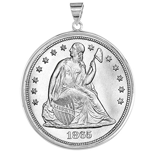 (Sterling Silver Dollar Bezel 38 mm Coins Prong Back Round Edge Mexican Olympic One Dollar)