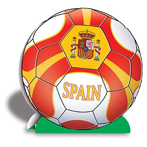 Club Pack of 12 Red, Yellow and White 3-D ''Spain'' Soccer Ball Centerpieces 10'' by Party Central