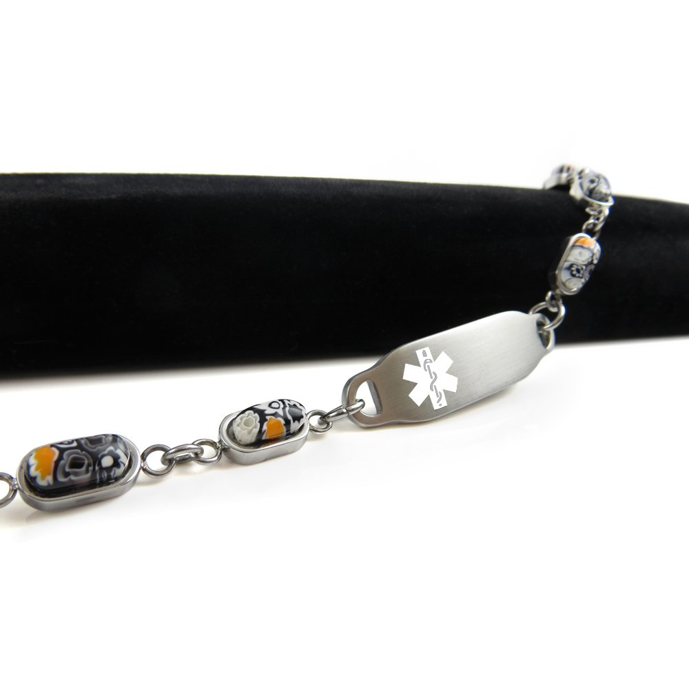 White Black /& White Millefiori Glass Pattern My Identity Doctor Pre-Engraved /& Customized Compazine Allergy Alert Bracelet