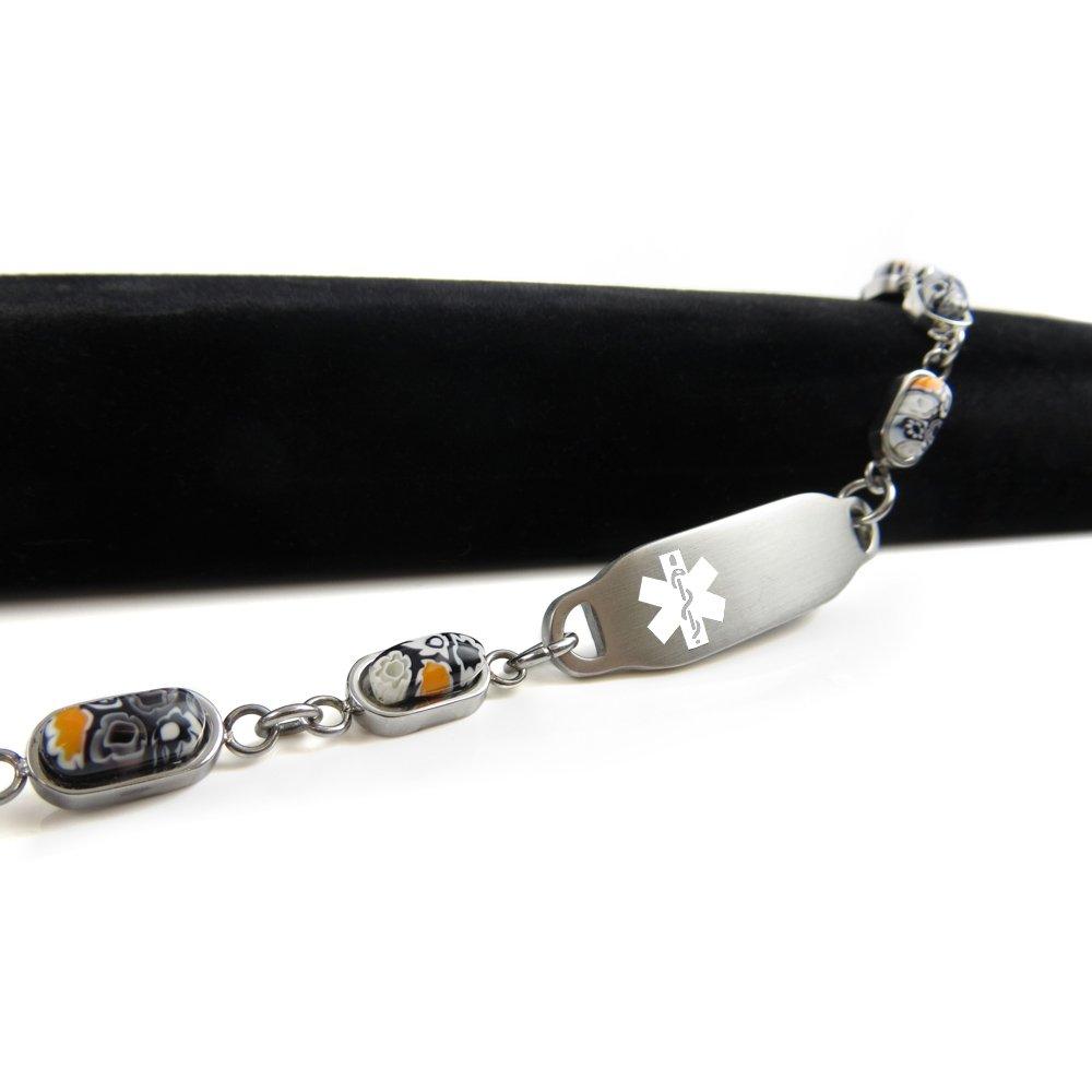 Black /& White Millefiori Glass Pattern Pre-Engraved /& Customized Compazine Allergy Alert Bracelet My Identity Doctor White