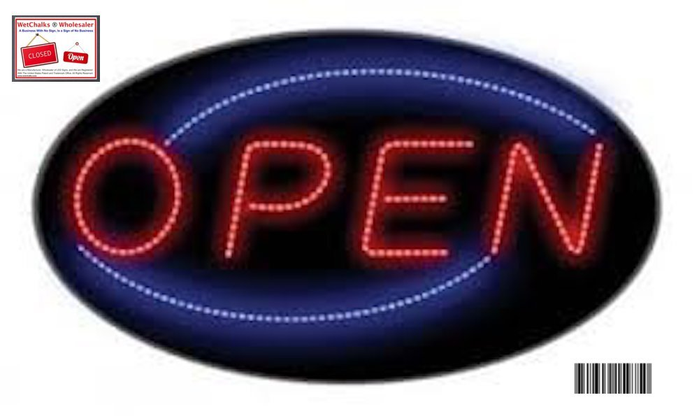 OPEN OVAL LED NEON SIGN WITH ON/OFF ANIMATION + ON/OFF SWITCH +CHAIN EXCLUSIVE BY *WetChalks  Wholesaler'' FIND LOGO IN SIGN*