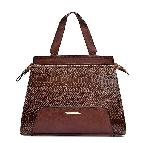 Brown Snakeskin Purse - Women Handbag Design Female Cross body Shoulder Bag Large Top Handle Tote Purse Light Snake Pattern Messenger Bag (Brown)