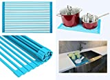 Ariel Over the Sink / Countertop Multipurpose Roll-Up Dish Drying Rack (Blue) - Silicone Coated Stainless Steel - Flat Stripe Design - Dishwasher Safe, Heat Resistant, Trivet, Colander, Food Defrost