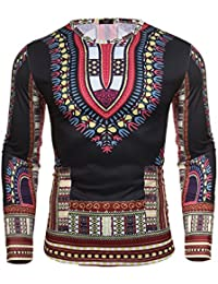 Men's Unisex Long Sleeve African Printed Casual Slim Fit Dashiki T Shirts Tops