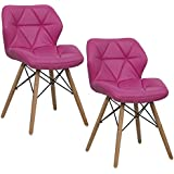 Giantex Set Of 2 Dining Chairs PU Leather Armless Wood Legs Accent Side  Chair (Rose)
