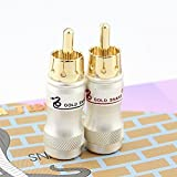 Gold Happy 10pcs/lot DIY RCA Plug HIFI Goldplated Audio Cable RCA Male Audio Video Connector Gold Adapter For Cable