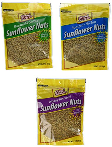 Honey Roasted Sunflower Seeds (Good Sense Roasted and Salted, Roasted/No Salt & Honey Roasted Sunflower Nuts Combination (3)8oz Bags)
