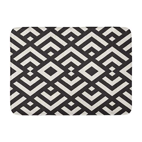 Lattice,Darkchocl Decorative Bath Mat Stylish Lines Lattice Ethnic Monochrome Absorbent Non Slip 100 Flannel 17 L X 24 W for Bathroom Toilet Bath Tub Living Room