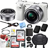 Sony Alpha a6000 Mirrorless Digital Camera 24.3MP SLR (White) w/ 16-50mm Lens ILCE-6000L/W with Extra Battery Case 2x 32GB Memory Deluxe Pro Bundle