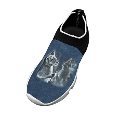 A Cat Looks In The Mirror New Sports Flywire Weaving 3D Printing Sneakers For Boys Girls