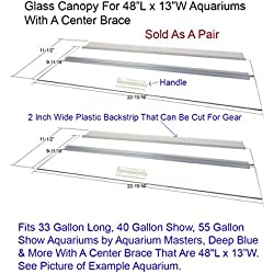 """Blue Spotted Glass Canopy Two Piece Set for Aquariums with Center Braces, (Tank with Center Brace, 48"""" L x 13"""" W)"""
