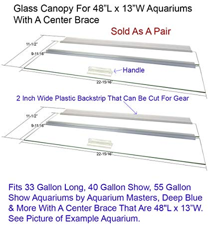 "Blue Spotted Glass Canopy Two Piece Set for Aquariums with Center Braces, (Tank with Center Brace, 48"" L x 13"" W)"