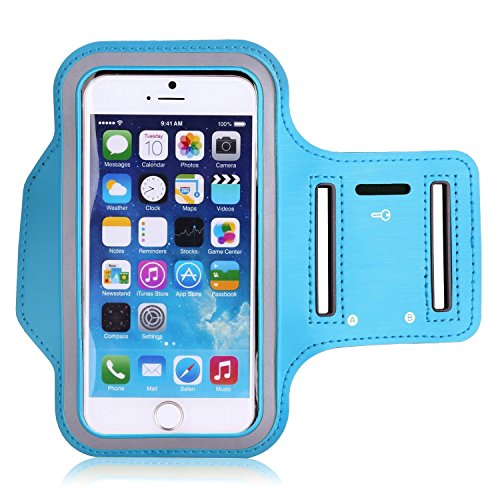 iPhone 6s / iPhone 6 Armband, KAMII Sports Armband for iPhone 5/5S/5C, Galaxy S4 Key Holder & Card Slot, Water Resistant, Sweat-proof, (Compatible with Cellphones up to 5.2 Inch) (Skyblue) ()