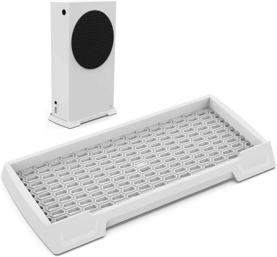 Vertical Stand for Xbox Series S Console, Xbox Series S Stand with Built-in Cooling Vents and Non-Slip Feet (White)