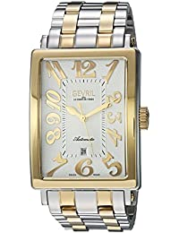 Avenue of Americas Mens Swiss Automatic Rectangle Two Tone Stainless Steel Bracelet Watch, (Model: 5063B)