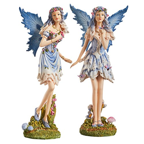 Design Toscano QS923234 Poppy and Meadow The Wind Forest Fairies Statue Collection, Set of Two, Multi-Color
