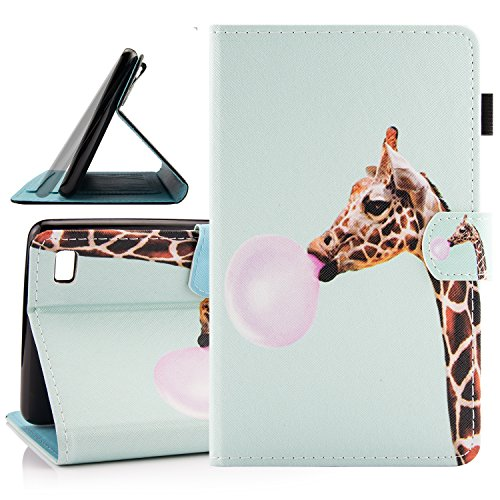 Fire 7 (2015 Release) Case, Dteck Slim Flip Folio Cute Cartoon Stand Case with [Card Slots] Protective Synthetic Leather Wallet Cover for Amazon Fire 7 (5th Generation)-Giraffe Balloon