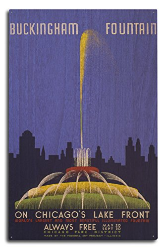 Chicago World's Fair Poster - Buckingham Fountain - Vintage Advertisement (10x15 Wood Wall Sign, Wall Decor Ready to (Chicago Worlds Fair Framed Art)