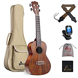 WINZZ 23 Inches Concert Mahogany Ukulele Vintage Hawaiian with Bag, Tuner, Strap, Brown