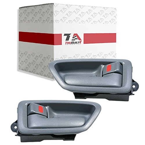 T1A 1997-2001 Toyota Camry Pair of Interior Door Handle Replacements, Fits Front or Rear Inside Left Driver's and Right Passenger's Sides, Grey or Gray Color, T1A 69206-AA010-G0 and 69205-AA010-G0
