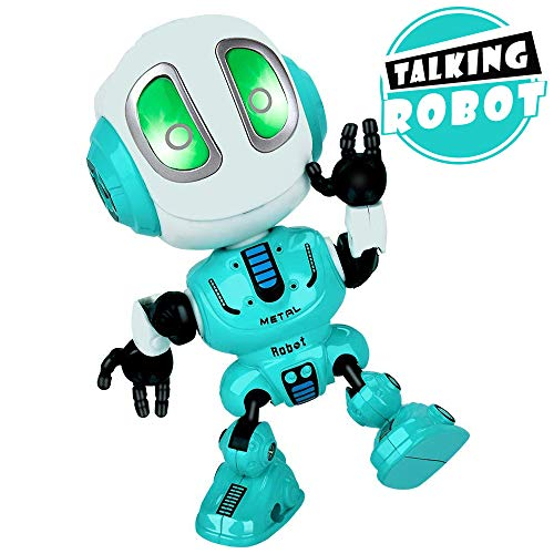 INLAIER Mini Talking Robot Toys Robots Toy for Kids, Boys, Girls Metal Talking Robot Kit Bright LED Toys Interactive Voice Changer Robot Travel Toys (Blue)