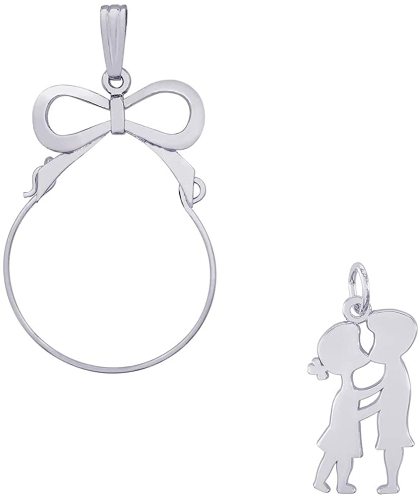 Mireval Sterling Silver Enameled Butterfly Charm on an Optional Charm Holder