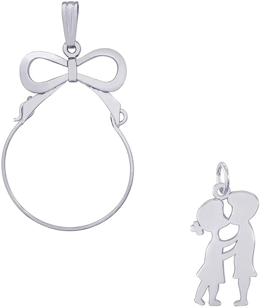 Mireval Sterling Silver Elephant Charm on an Optional Charm Holder