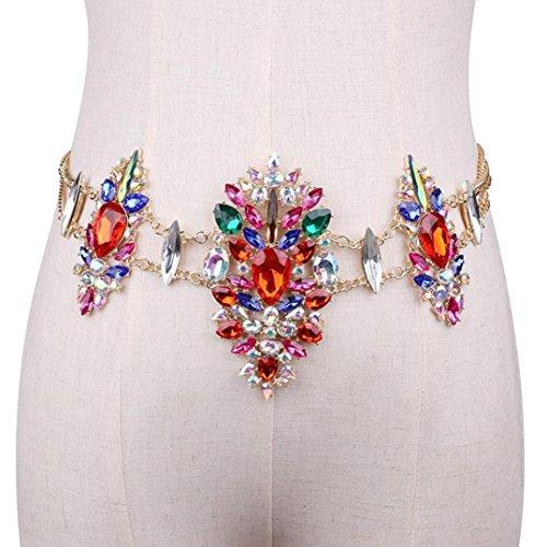 Body Fringe (Women's Belly Chain, Iuhan Women Crystal Rhinestone Bling Statement Body Waist Chain Belt Clubwear Retro (Red))