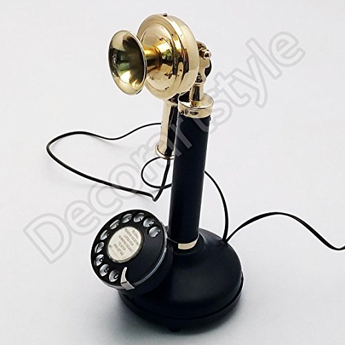 Decorative Royal Antique Reproduction Candle stick Brass Working Telephone Home Decor ()